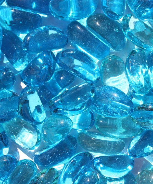 Galets de verre turquoise