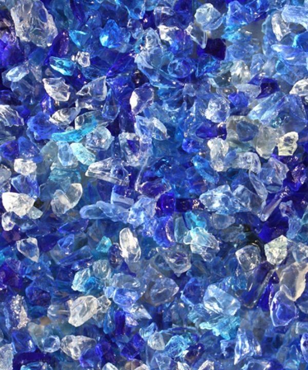 verre pilé bleu mélange