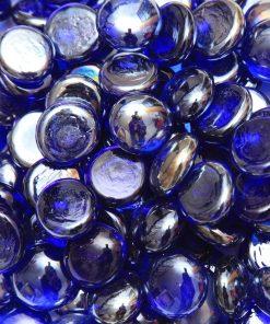 Galet Rond Plat Bleu Cobalt Irisé - Fibre Verte - Paillage Décoratif